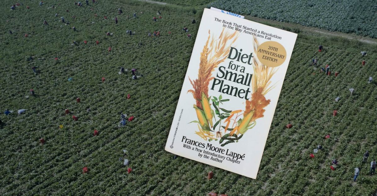The book, Diet for a Small Planet, floats over a field of farm workers.